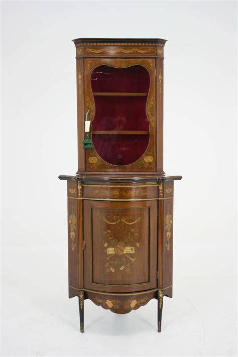 antique corner curio cabinet antique inlaid marquetry corner curio