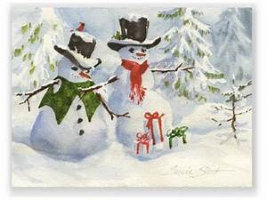 Snow Bud s Christmas Watercolor Greeting Card by Susie Short