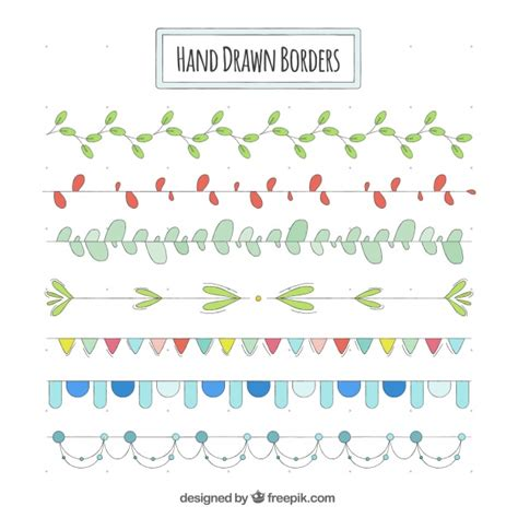 Set of hand drawn decorative borders Vector Free Download