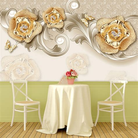 Фотообої Квіти з золотом та метелики купити на стіну • Еко ...