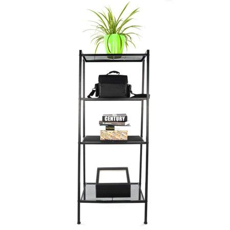 Metal Leaning Bookcase by Zimtown 4 Tier Metal Ladder Shelf Bookcase Leaning Storage