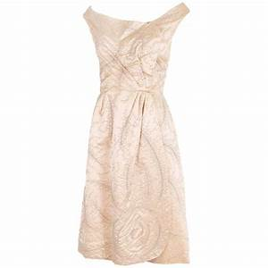 Ceil Chapman Champagne-Colored Satin Beaded Cocktail Dress ...