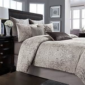 4 pc wamsutta cambridge queen comforter set charcoal gray floral damask cotton