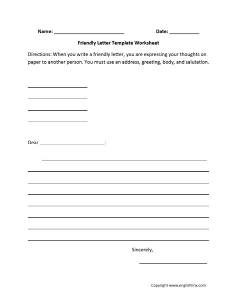 letter writing worksheets friendly letter writing worksheets
