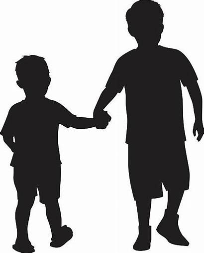 Brothers Clip Brother Silhouette Clipart Boy Holding