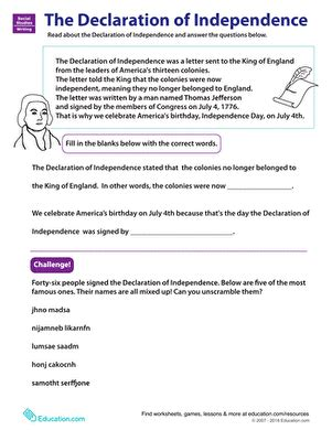 learn about the declaration of independence worksheet