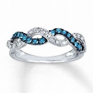 jared blue white diamond ring 1 2 ct tw round cut 14k With blue and white diamond wedding rings