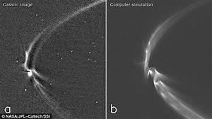 Saturn's moon Enceladus' tendrils being sucked in by the ...