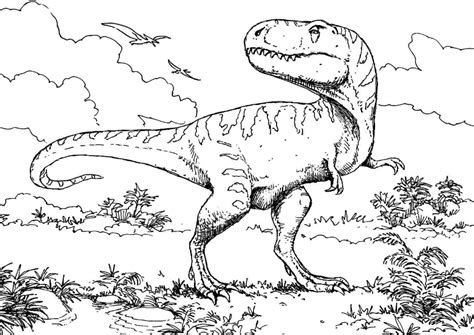 T Rex Dinosaur Coloring Page & Coloring Book