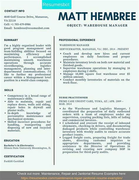 warehouse manager resume samples templates pdfdoc