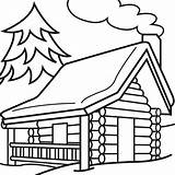 Cabin Outline Clipart Woods Library Clip Coloring Hut Sketch Printable Transparent Webstockreview Vectory Excellent Adults Template sketch template