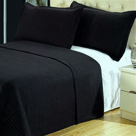 Bedroom Coverlets by Modern Solid Black Reversible Coverlet Quilt Bedding Set