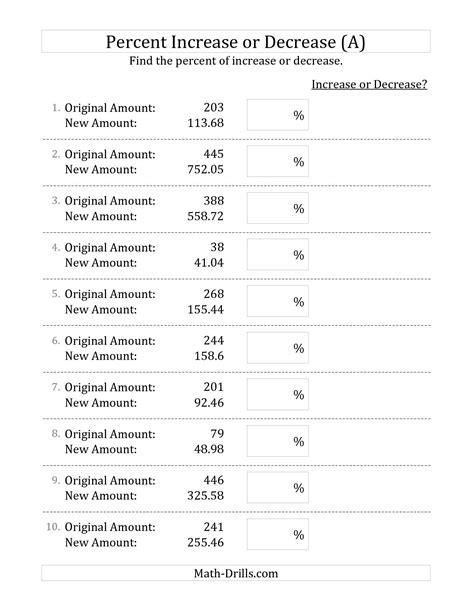 10 Best Images Of Percent Change Worksheet  Math Percent Problems Worksheets, Percent Increase