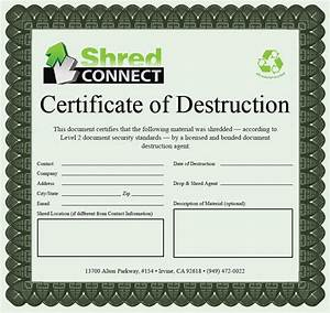 sample certificate of document destruction images With safe document destruction