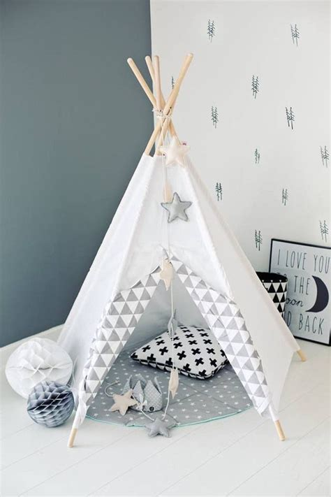 chambre bébé fabrication tipi d 39 indien tipi wigwam blanc zigzag gris chambre d
