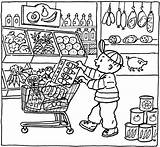 Coloring Grocery Pages Market Printable Kleurplaat Colouring Shopping Supermarket Sheets Supermarkt Thema Getcolorings Kleurplaten Shops Getdrawings Books Popular Find Template sketch template