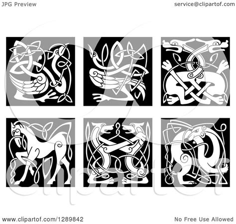 clipart  black  white celtic knot animals  royalty