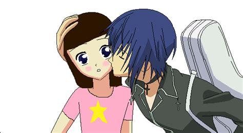 anime couple kiss on cheek sudden kiss on the cheek by transformers901 on deviantart