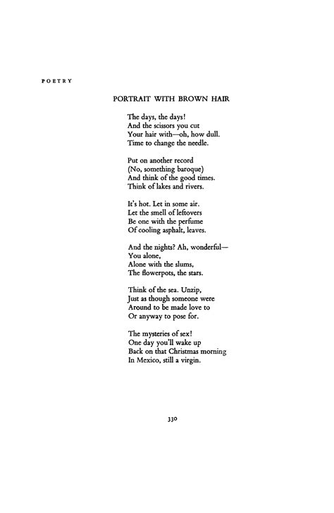 Brown Hair Poem portrait with brown hair by donald justice poetry magazine