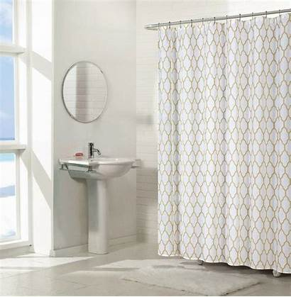 Shower Curtain Trellis Fabric Geometric Linen Shabby