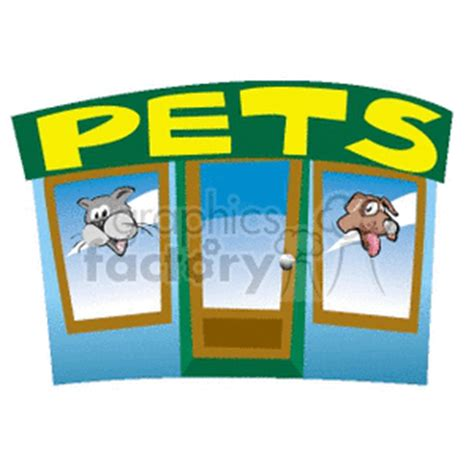 royalty  cartoon pet storefront  vector clip art