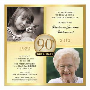 gold 90th birthday invitations then now 2 photos 525 With 90th birthday invites templates