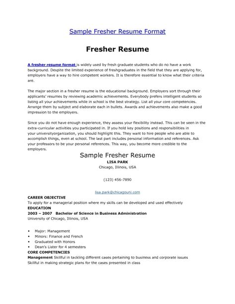 Profile Summary Resume For Fresher by Student Fresher Resume Sle Student Resume Template