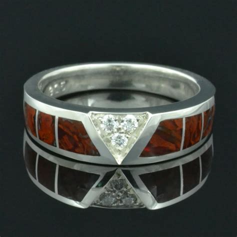 dinosaur bone ring with white sapphire accents in sterling