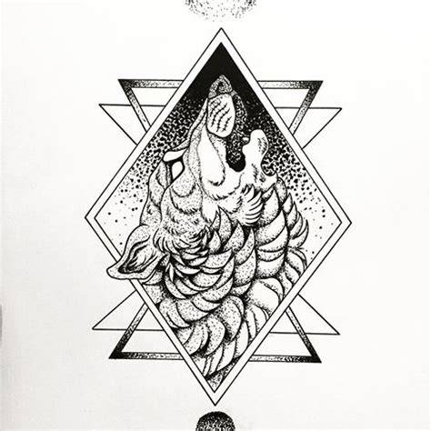 Fluffy Dotwork Howling Wolf Geometric Frame Tattoo