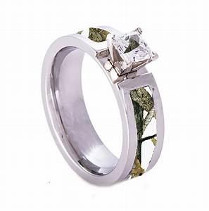 white camo wedding engagement ring titanium with cz stone With snow camo wedding rings