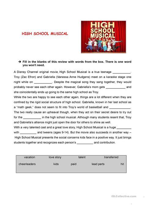 teaching worksheets high school musical