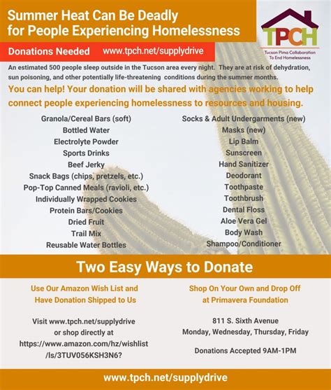 TPCH Supply Drive   Tucson Pima Collaboration to End ...