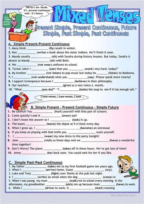 printable  present  future tense worksheets
