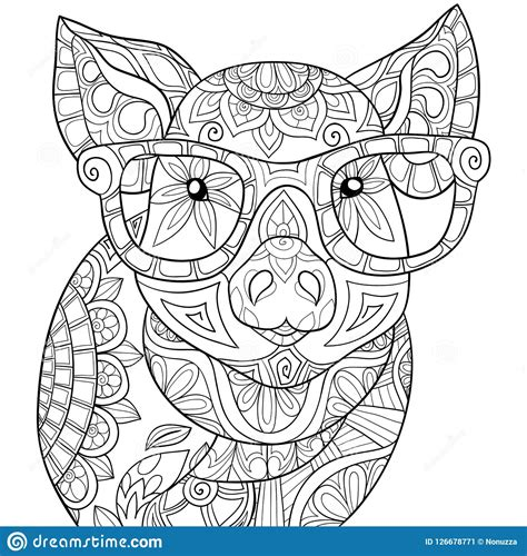 Adult Coloring Book page A Cute Pig Image For Relaxing Zen