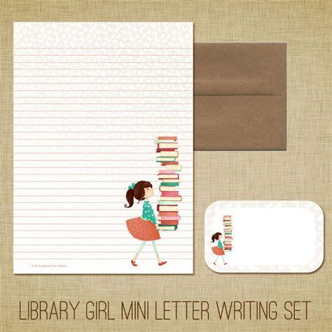 mini letter writing set library girl cute kids
