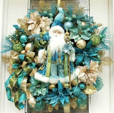 turquoise  gold christmas tree decorations