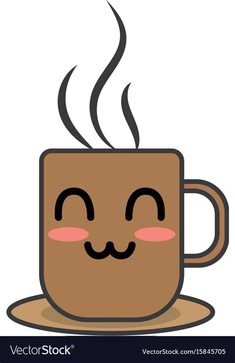 Coffee svg & craft designs. Kawaii cute happy coffee cup Royalty Free Vector Image