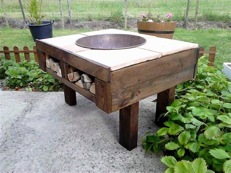 diy pallet pit table with firewood storage 99 pallets