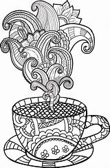 Coloring Coffee Cup Tea Colouring Printable Adult Rainy Drawing Imagem Clipart Relacionada Sheet Doodle Vector Illustration Zentangle Sheets Drawn Abstract sketch template
