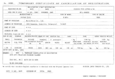 Sample Temporary De-registration Certificates (japan