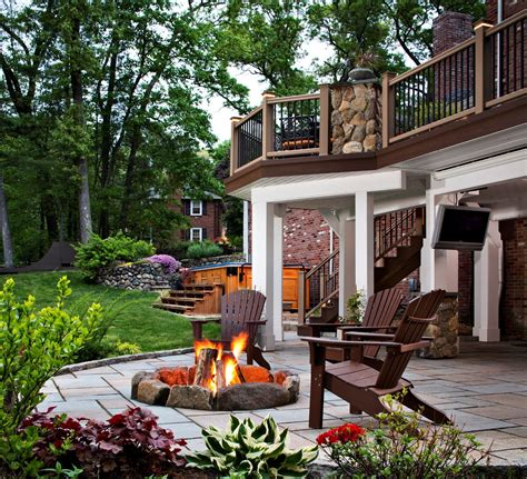 porch and patio great outdoor patio ideas with pit area and wood deck