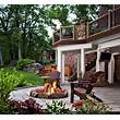 Great Outdoor Patio Ideas With Fire Pit Area And Wood Deck ...