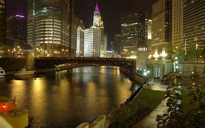Chicago Night Illinois River Ciel Gratte Wallpapers