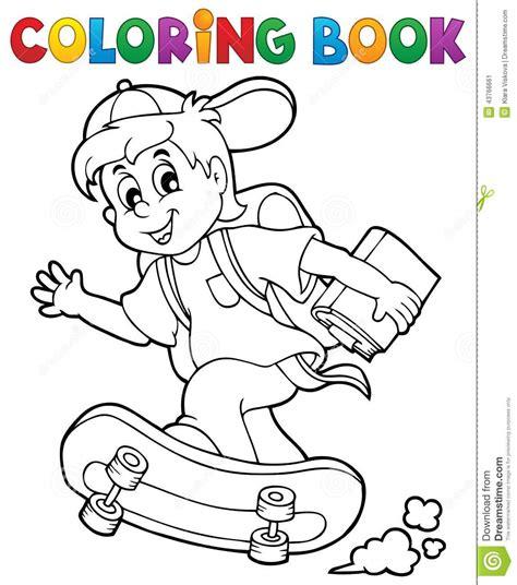 coloring book school boy theme  stock vector