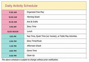 child care daily routine template - home daycare schedule template images template design ideas