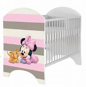 Minnie Maus Bett : babybett 120x60 cm kinderbett mit minnie mouse motiv gitterbett f r das babyzimmer ~ Watch28wear.com Haus und Dekorationen