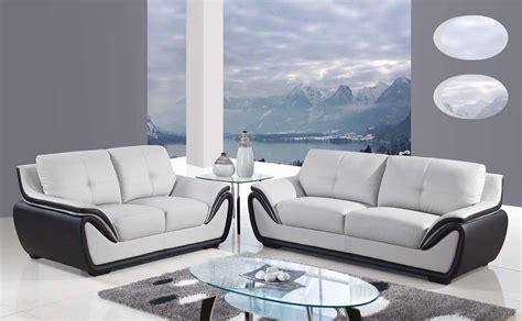 Karina Modern Leather 3pc Sofa Set Light Grey Black