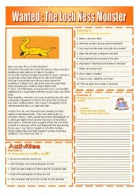 english worksheets  loch ness monster reading