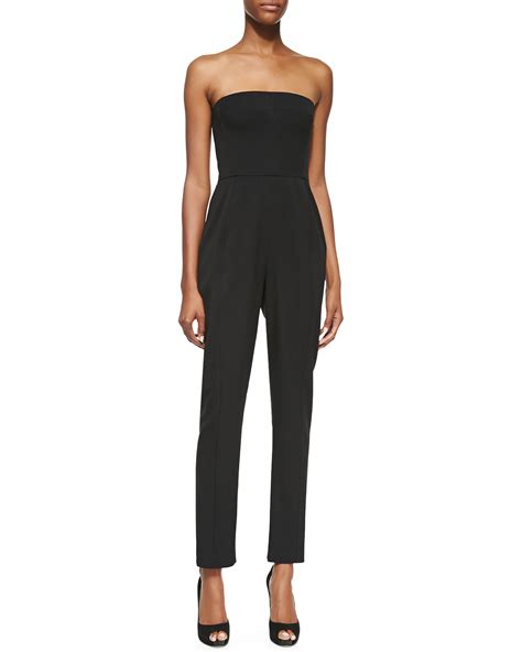 strapless jumpsuit black halo iris strapless jumpsuit in black lyst