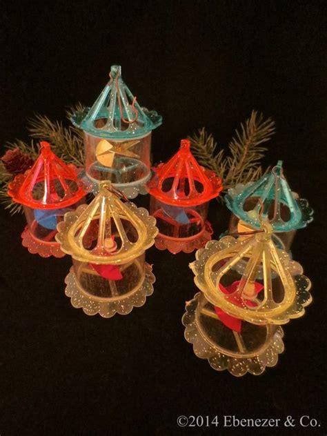 set   vintage plastic spinner carousel christmas